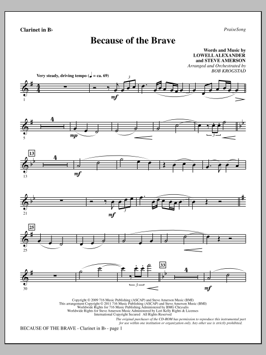 Because Of The Brave - Clarinet Sheet Music
