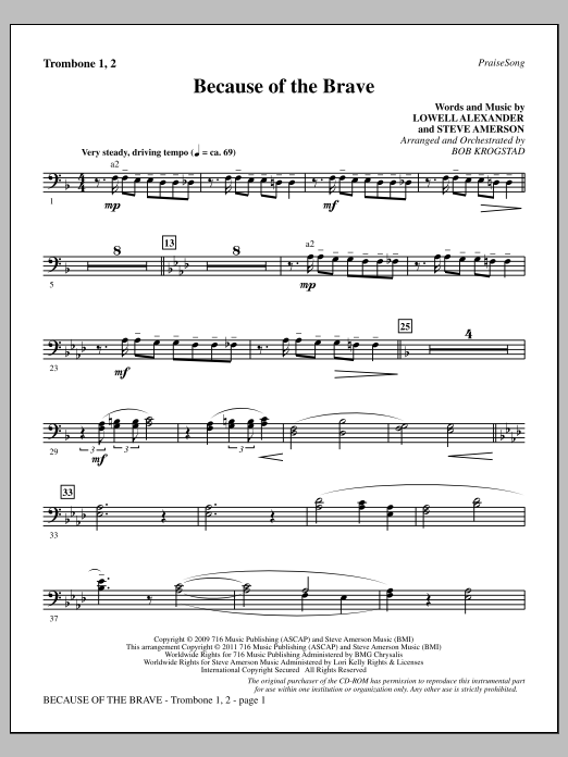 Because Of The Brave - Trombone 1 & 2 Sheet Music