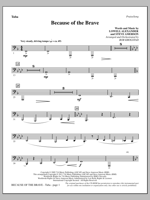 Because Of The Brave - Tuba Sheet Music