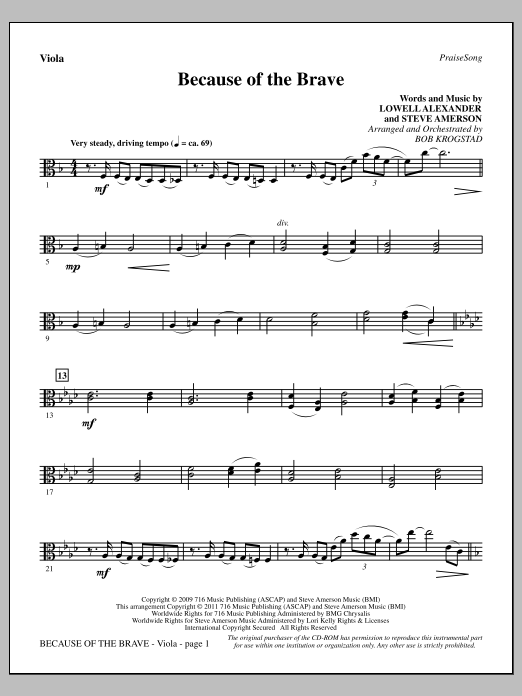 Because Of The Brave - Viola Sheet Music