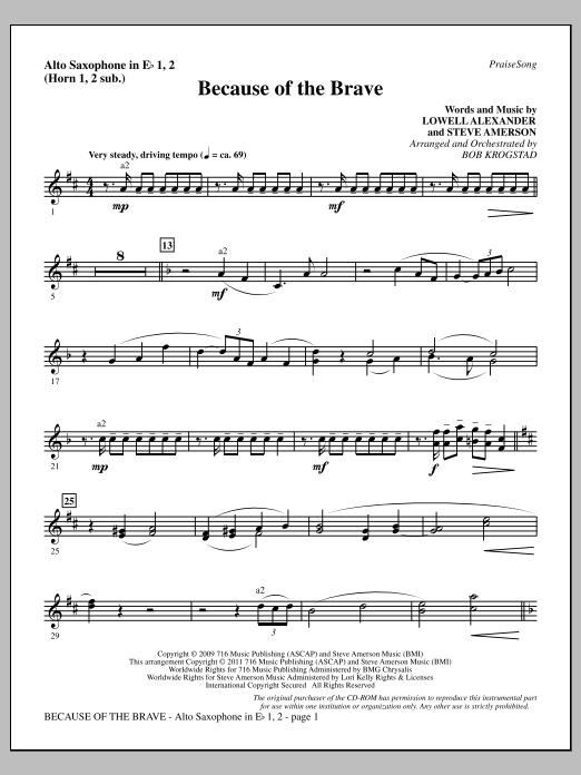 Because Of The Brave - Alto Sax 1-2 (sub. Horn 1-2) (Choir Instrumental Pak)