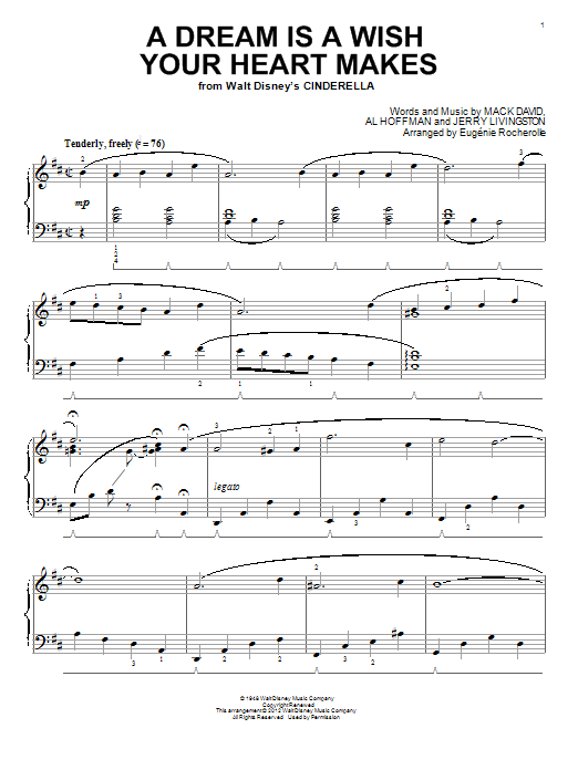 Partition piano A Dream Is A Wish Your Heart Makes de Eugenie Rocherolle - Piano Solo
