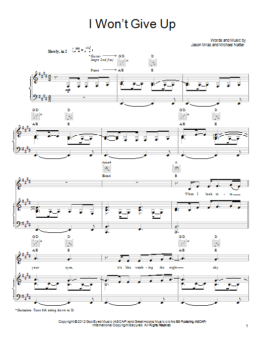I Wont Give Up Sheet Music Direct