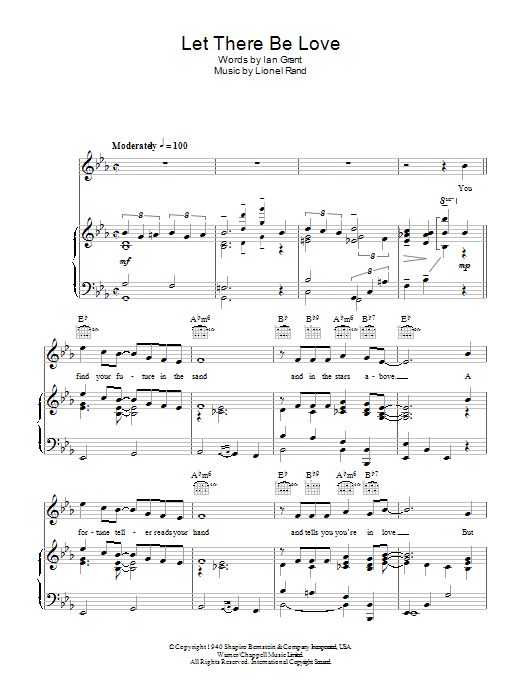 Let There Be Love Sheet Music Nat King Cole Piano Vocal