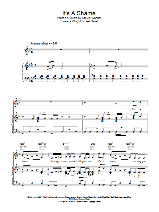 It's A Shame Sheet Music