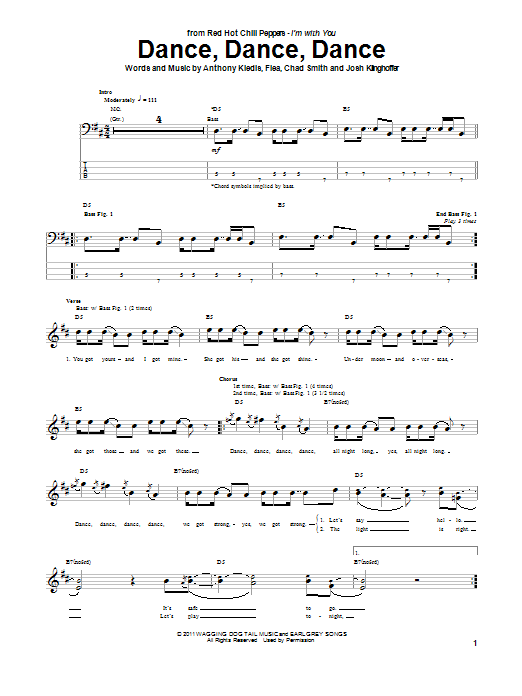 Tablature guitare Dance, Dance, Dance de Red Hot Chili Peppers - Tablature Basse