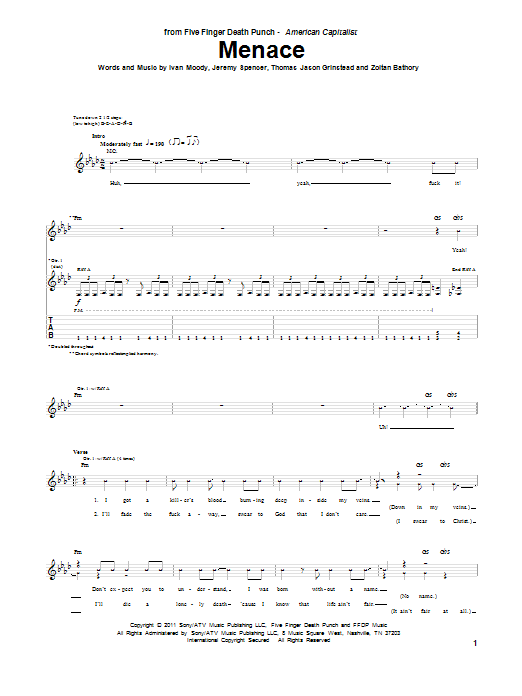 Tablature guitare Menace de Five Finger Death Punch - Tablature Guitare