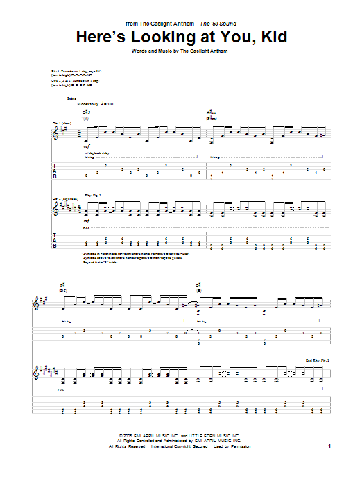 Tablature guitare Here's Looking At You, Kid de The Gaslight Anthem - Tablature Guitare