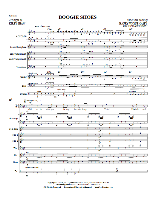 Boogie Shoes (complete set of parts) sheet music for orchestra/band (chamber ensemble) by Harry Wayne Casey, Richard Finch, KC & The Sunshine Band and Kirby Shaw. Score Image Preview.