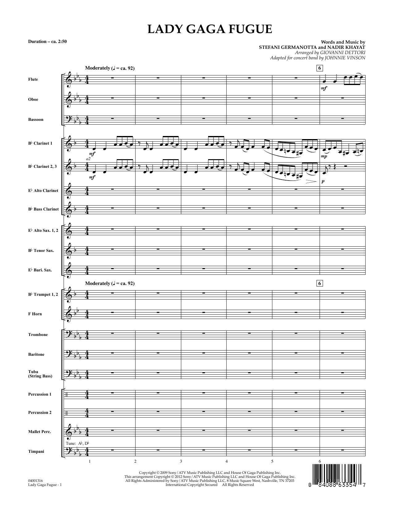 Lady Gaga Fugue (COMPLETE) sheet music for concert band by Lady Gaga, Giovanni Dettori and Johnnie Vinson. Score Image Preview.