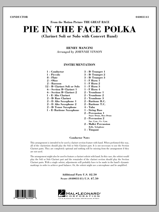 Pie In The Face Polka (COMPLETE) sheet music for concert band by Johnnie Vinson and Henry Mancini. Score Image Preview.