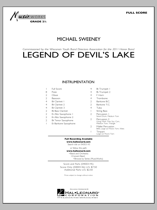 Legend Of Devil's Lake (COMPLETE) sheet music for concert band by Michael Sweeney. Score Image Preview.