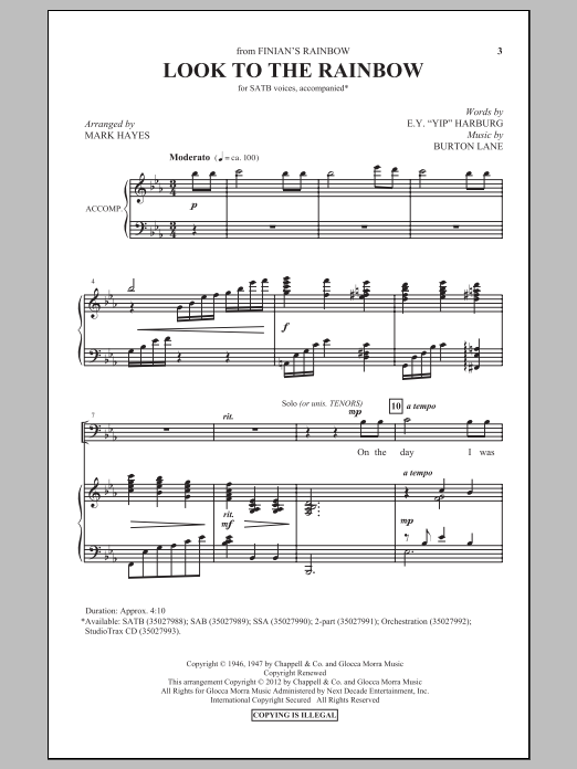Look To The Rainbow (arr. Mark Hayes) Sheet Music
