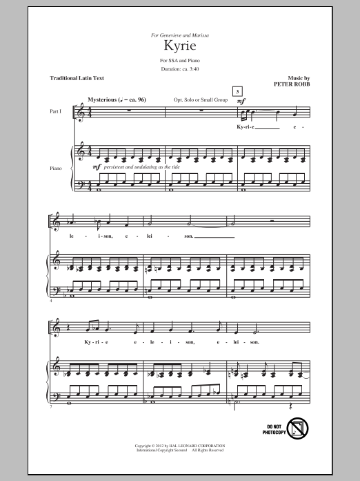 Kyrie And Sanctus Sheet Music