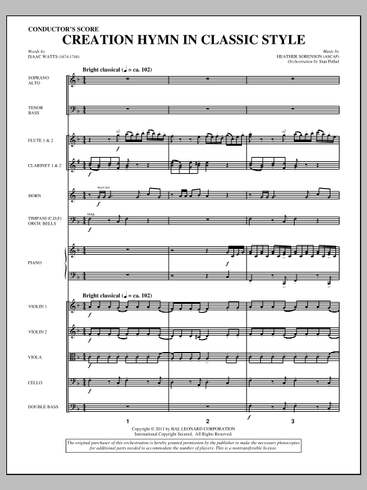 Creation Hymn In Classic Style (complete set of parts) sheet music for orchestra/band (Orchestra) by Heather Sorenson and Isaac Watts. Score Image Preview.