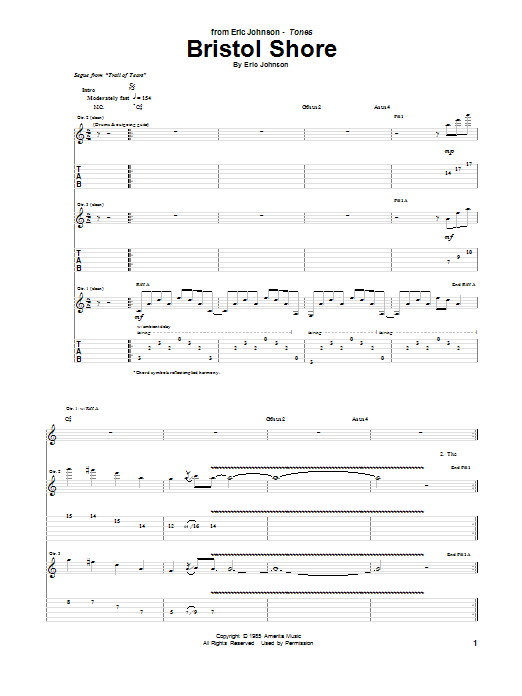 Tablature guitare Bristol Shore de Eric Johnson - Tablature Guitare