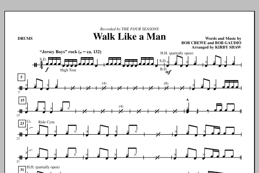 Walk Like A Man - Drums (Choir Instrumental Pak)