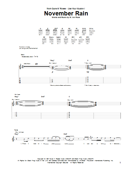 Tablature guitare November Rain de Guns N' Roses - Tablature Guitare