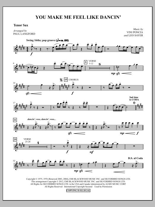You Make Me Feel Like Dancing - Tenor Sax Sheet Music