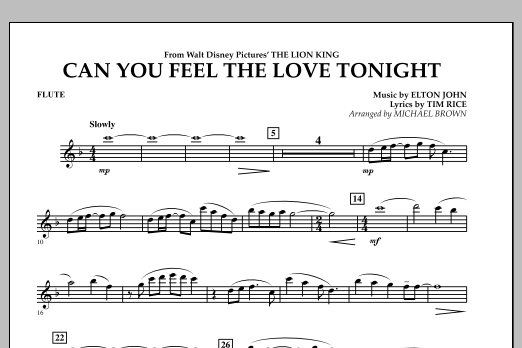 """Can You Feel The Love Tonight? (from """"The Lion King"""") - Flute (Concert Band)"""