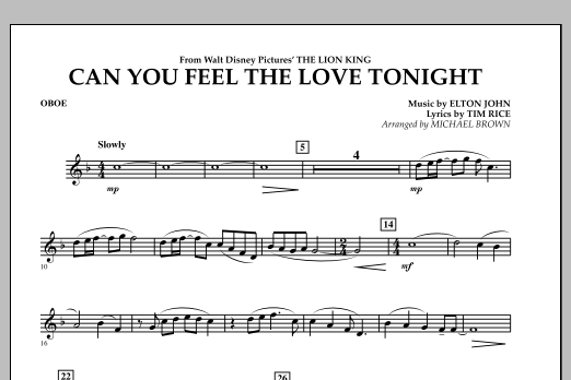 """Can You Feel The Love Tonight? (from """"The Lion King"""") - Oboe (Concert Band)"""