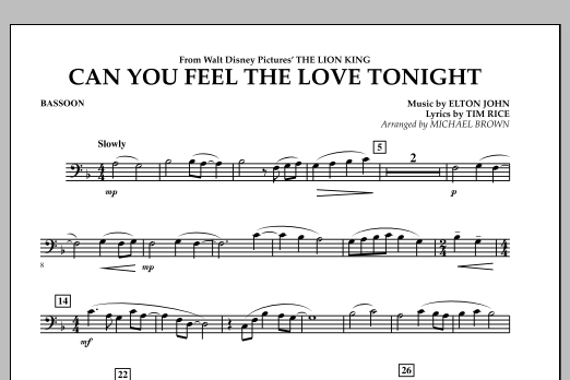 "Can You Feel The Love Tonight? (from ""The Lion King"") - Bassoon (Concert Band)"