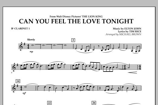 """Can You Feel The Love Tonight? (from """"The Lion King"""") - Bb Clarinet 1 (Concert Band)"""