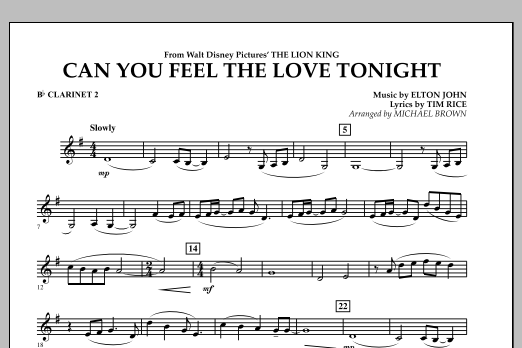 "Can You Feel The Love Tonight? (from ""The Lion King"") - Bb Clarinet 2 (Concert Band)"