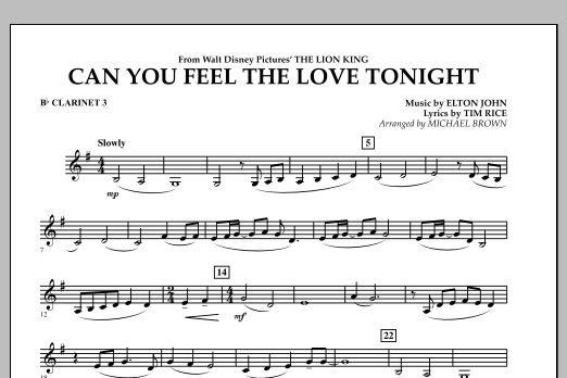 """Can You Feel The Love Tonight? (from """"The Lion King"""") - Bb Clarinet 3 (Concert Band)"""