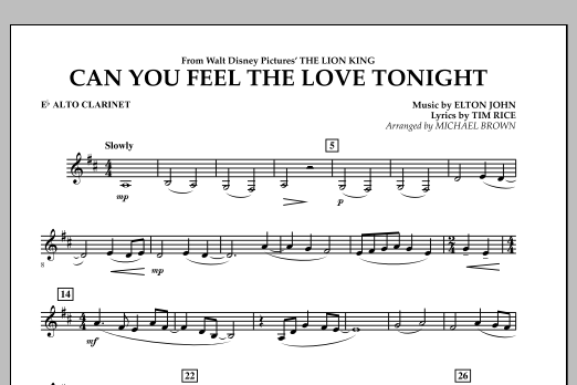"""Can You Feel The Love Tonight? (from """"The Lion King"""") - Eb Alto Clarinet (Concert Band)"""