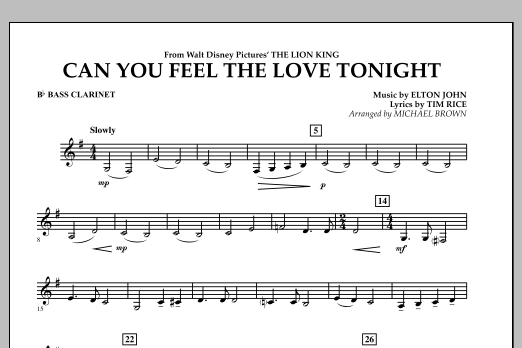 "Can You Feel The Love Tonight? (from ""The Lion King"") - Bb Bass Clarinet (Concert Band)"