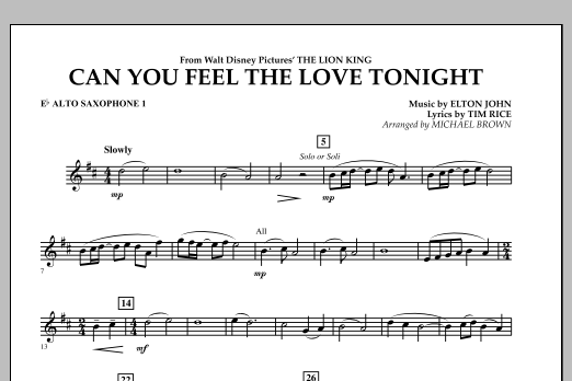 """Can You Feel The Love Tonight? (from """"The Lion King"""") - Eb Alto Saxophone 1 (Concert Band)"""
