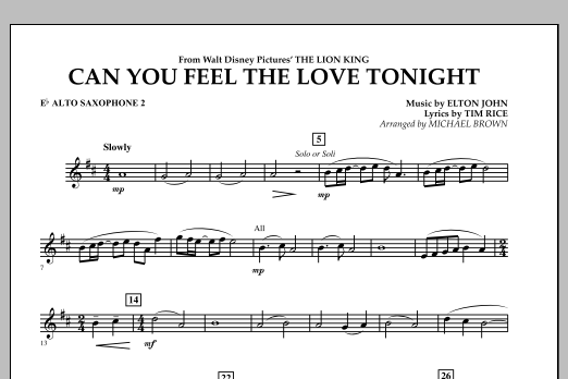 "Can You Feel The Love Tonight? (from ""The Lion King"") - Eb Alto Saxophone 2 (Concert Band)"