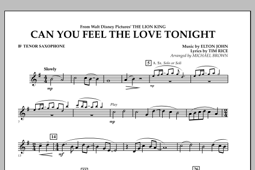"Can You Feel The Love Tonight? (from ""The Lion King"") - Bb Tenor Saxophone (Concert Band)"