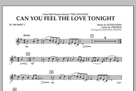 """Can You Feel The Love Tonight? (from """"The Lion King"""") - Bb Trumpet 1 (Concert Band)"""