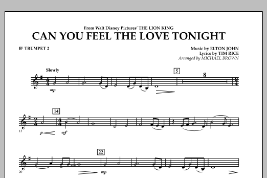 """Can You Feel The Love Tonight? (from """"The Lion King"""") - Bb Trumpet 2 (Concert Band)"""