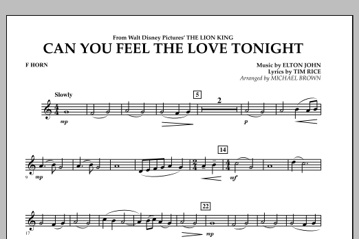 "Can You Feel The Love Tonight? (from ""The Lion King"") - F Horn (Concert Band)"