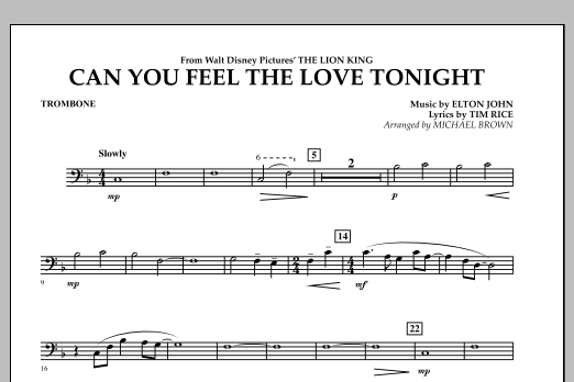 """Can You Feel The Love Tonight? (from """"The Lion King"""") - Trombone (Concert Band)"""