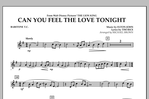 "Can You Feel The Love Tonight? (from ""The Lion King"") - Baritone T.C. (Concert Band)"