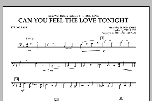 "Can You Feel The Love Tonight? (from ""The Lion King"") - Bass (Concert Band)"
