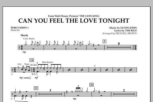 "Can You Feel The Love Tonight? (from ""The Lion King"") - Percussion 1 (Concert Band)"