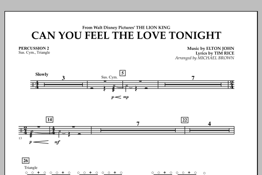 "Can You Feel The Love Tonight? (from ""The Lion King"") - Percussion 2 (Concert Band)"