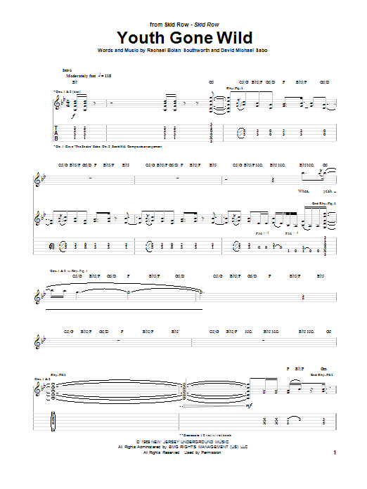 Tablature guitare Youth Gone Wild de Skid Row - Tablature Guitare
