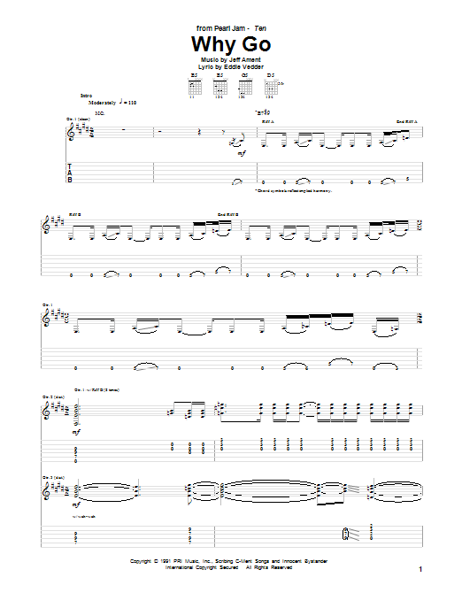 Tablature guitare Why Go de Pearl Jam - Tablature Guitare
