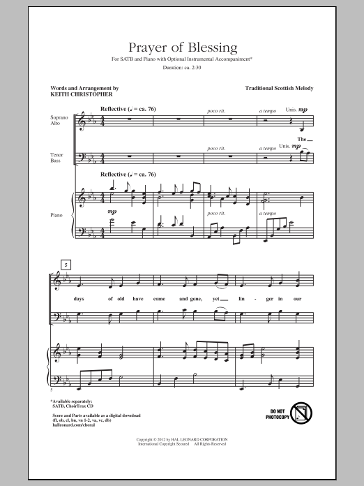 Partition chorale Prayer Of Blessing de Keith Christopher - SATB