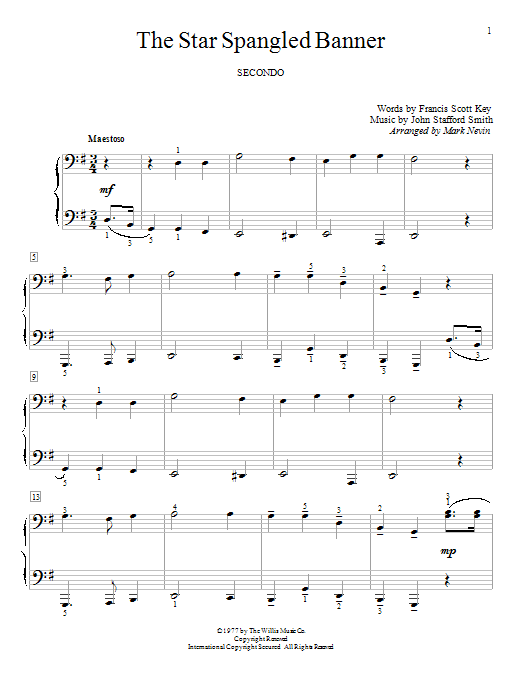 Partition piano The Star Spangled Banner de Francis Scott Key - 4 mains