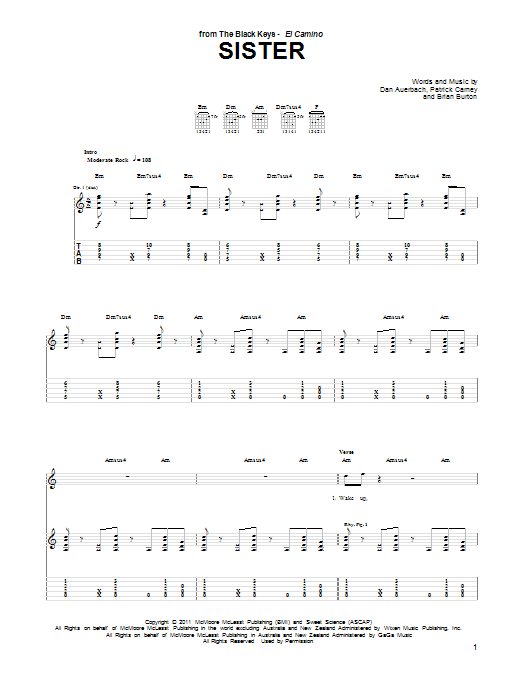 Tablature guitare Sister de The Black Keys - Tablature Guitare
