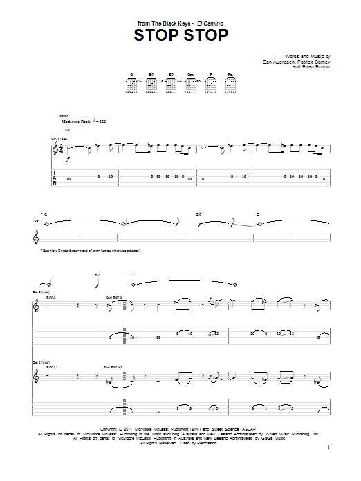 Tablature guitare Stop Stop de The Black Keys - Tablature Guitare