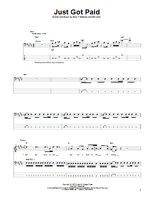 Tablature guitare Just Got Paid de ZZ Top - Tablature Basse