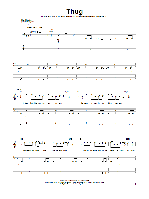 Tablature guitare Thug de ZZ Top - Tablature Basse